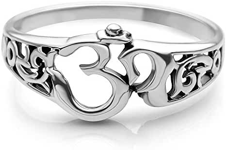 925 Sterling Silver Aum Om Ohm Sanskrit Symbol Filigree Design Meditation Yoga Band Ring